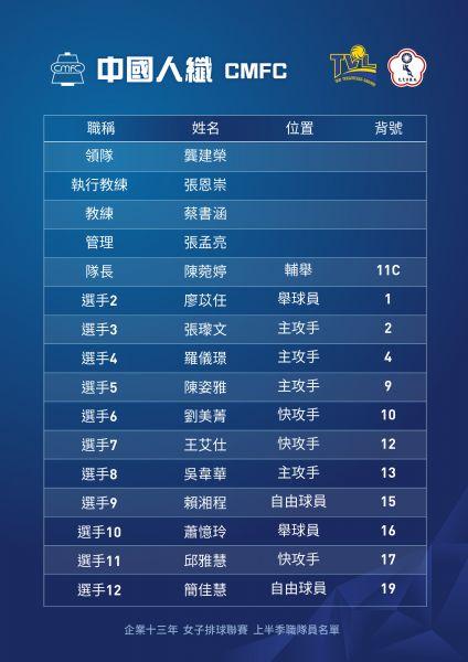 企排13年中國人纖女排隊名單。
