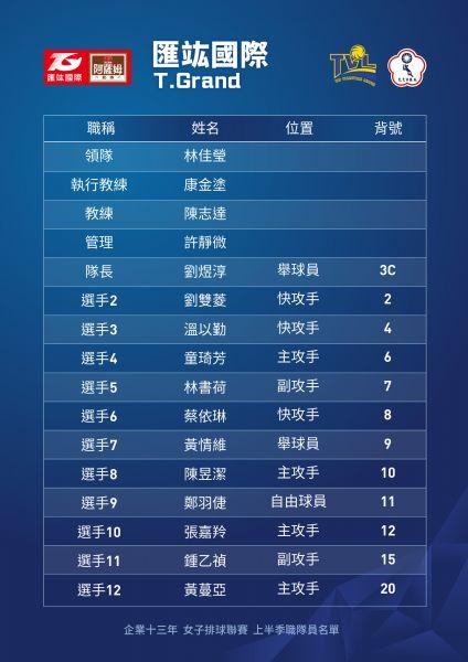 企排十三年匯竑女排球員名單。