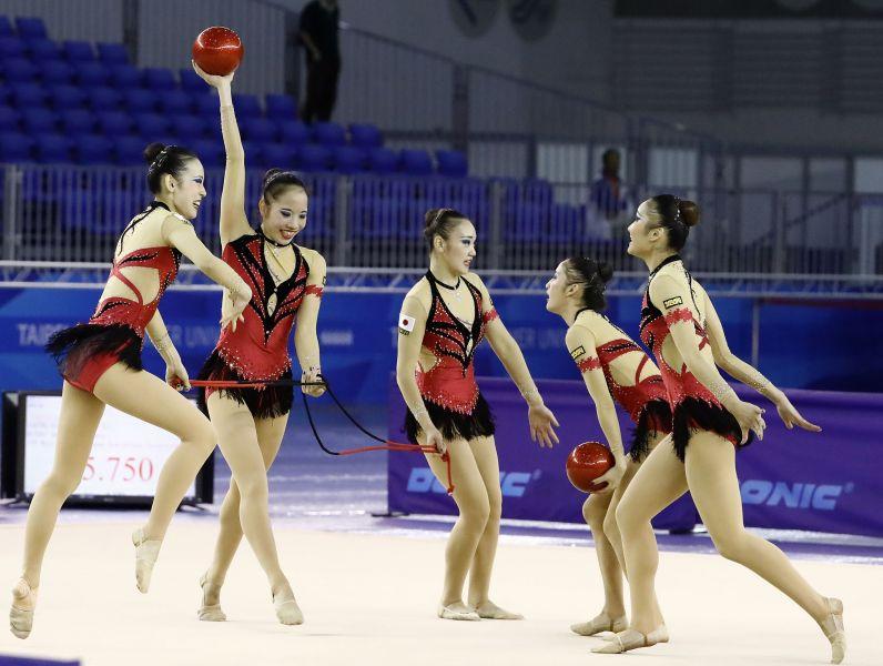 世大運韻律體操測試賽,日本東京女子體育大學1隊,收下團隊全能金牌。圖/大會提供