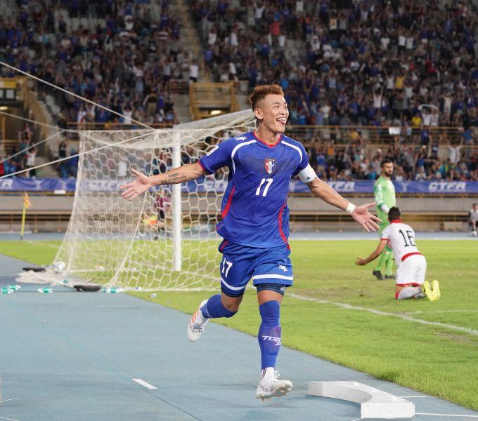 陳柏良開心進球。中華民國足球協會提供