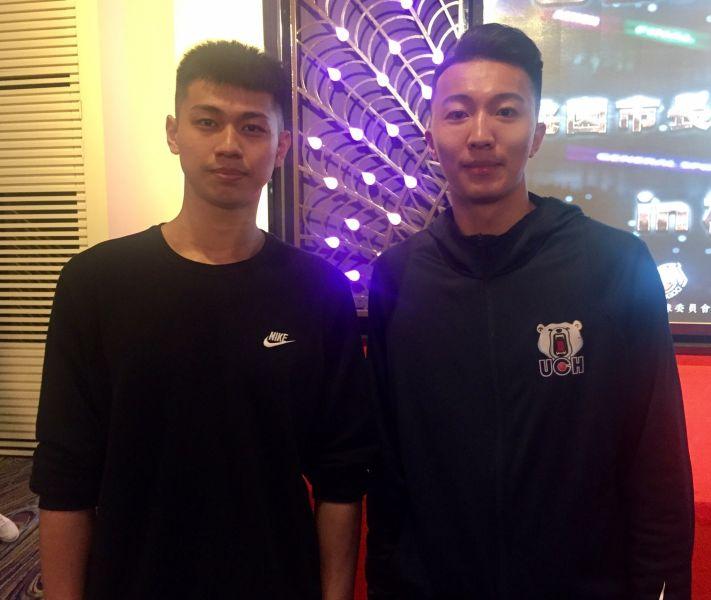 八強先禮後兵,健行上季冠軍賽MVP簡祐哲(右)、國體陳昱瑞(左 )信心喊話。