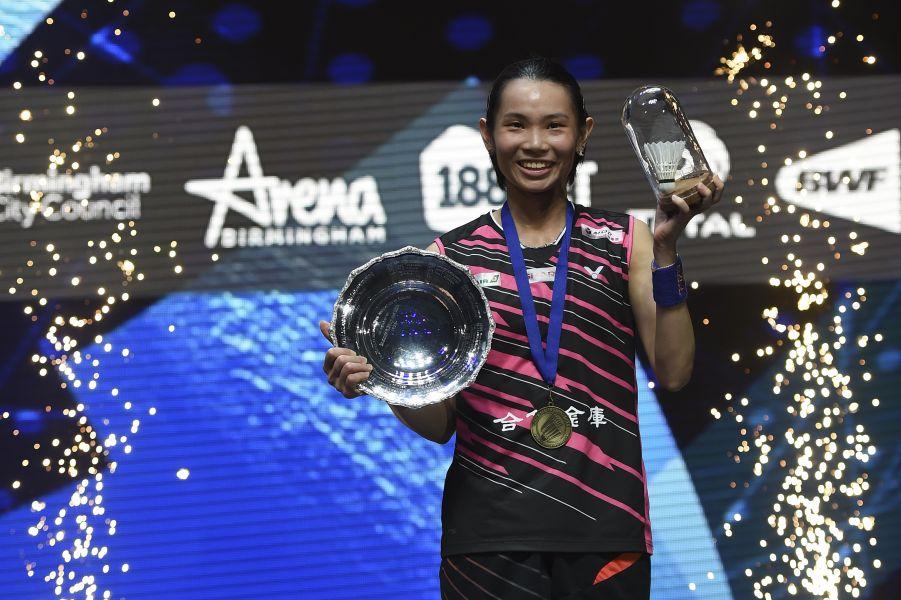 台灣女單戴資穎在全英羽賽完成二連后/法新社