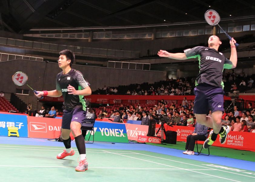 台灣男雙盧敬堯(左)楊博涵演出逆轉勝晉級八強/資料照片