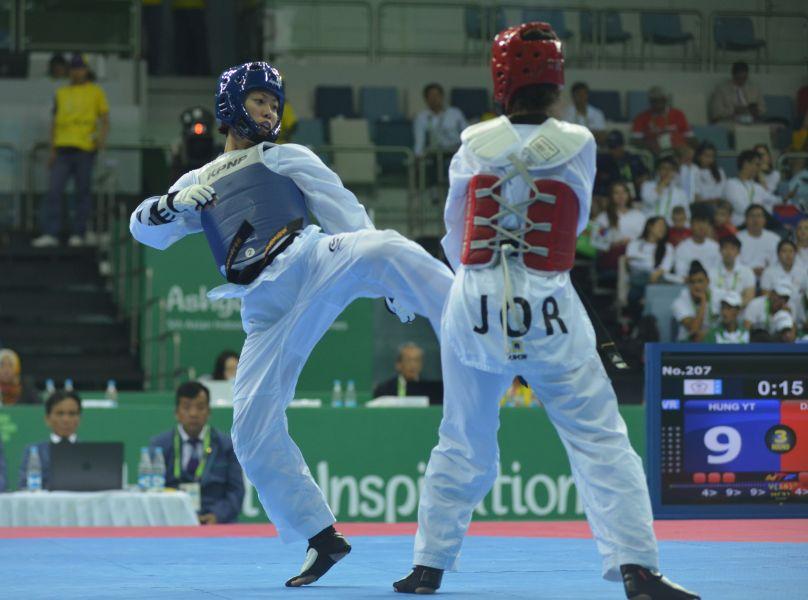 洪幼婷在亞室武運跆拳道四強賽擊敗約旦選手將爭奪金牌。體記協會提供