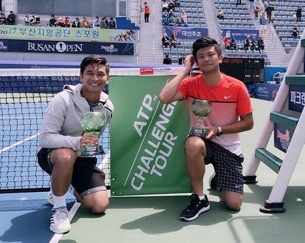 謝政鵬成功在釜山衛冕雙打冠軍。摘自謝政鵬臉書