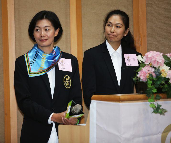 前奧運游泳國手林謙如、跆拳道奧運國手陳怡安擔任主持人。李天助攝