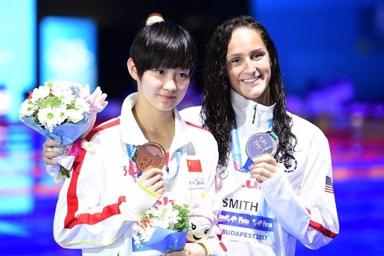 女子400自銅牌中國陳冰潔(左)年僅15歲。法新社