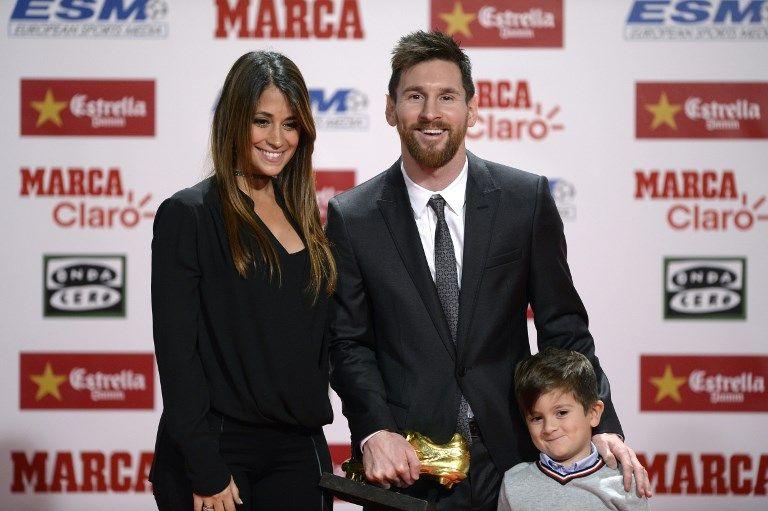 梅西和老婆、兒子一同出席頒獎。法新社