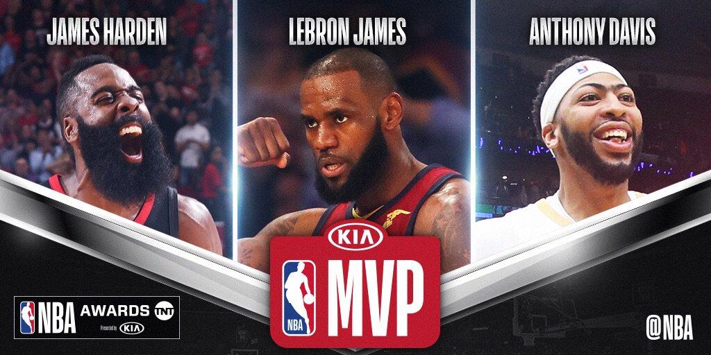 ▲官方年度奖项候选名单出炉,MVP由哈登呼声最高(图片来源:Twitter/@NBA)