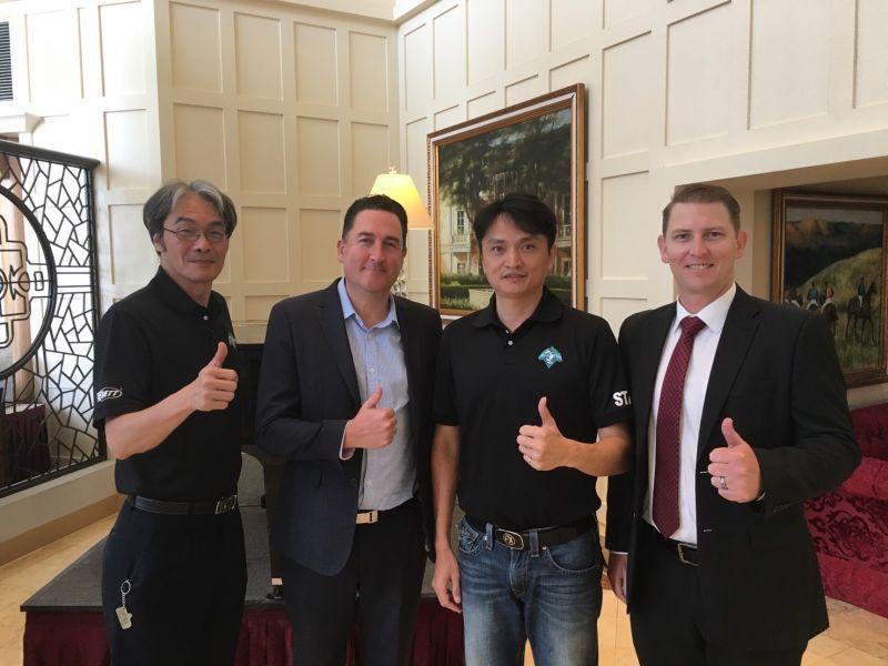 澳職派員至台灣觀摩明星賽,由左至右分別為中職副秘書長王惠民、澳職執行長Cam Vale、中職秘書長馮勝賢、澳職秘書長Ben Foster。圖/大會提供