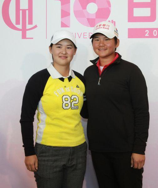 2018日立慈善盃記者會,前世界球后曾雅妮(右)與尋求衛冕的李旻。圖/大會提供