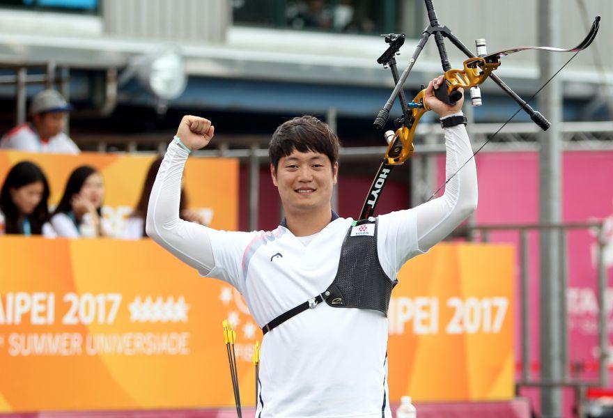 南韓李承潤射下三面金牌,是最大贏家。臺北世大運組委會/提供。