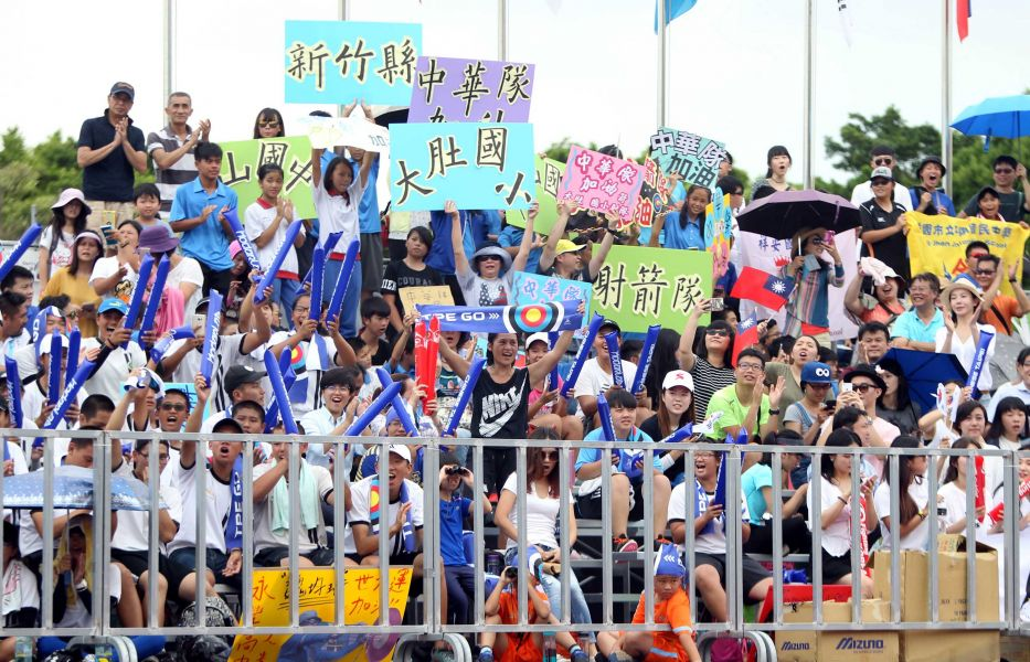 面對滿滿的地主觀眾,南韓還是包辦世大運射箭賽十面金牌中的九面。林嘉欣/攝影。