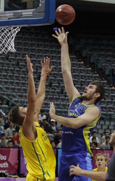 烏克蘭男籃隊在臺北世大運首戰擊敗強敵澳洲隊。圖/台北世大運執委會提供