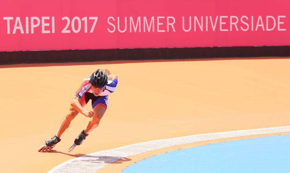 中華臺北隊陳彥成不僅拿下本屆中華代表團的第一金,也是世大運29屆以來的滑輪溜冰第一金。大會提供