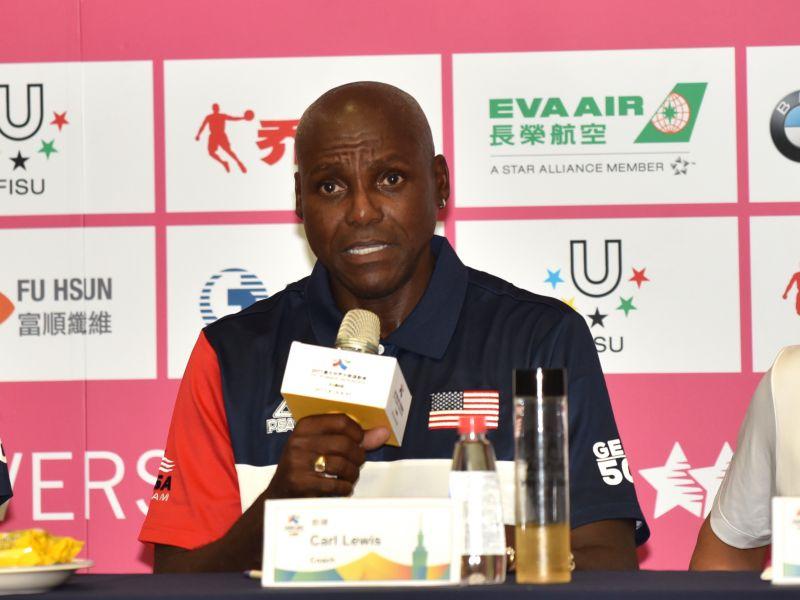 美國田徑隊教練團星光閃耀,傳奇名將劉易士(Carl Lewis)也在教練團陣中。圖/2017世大運組委會提供