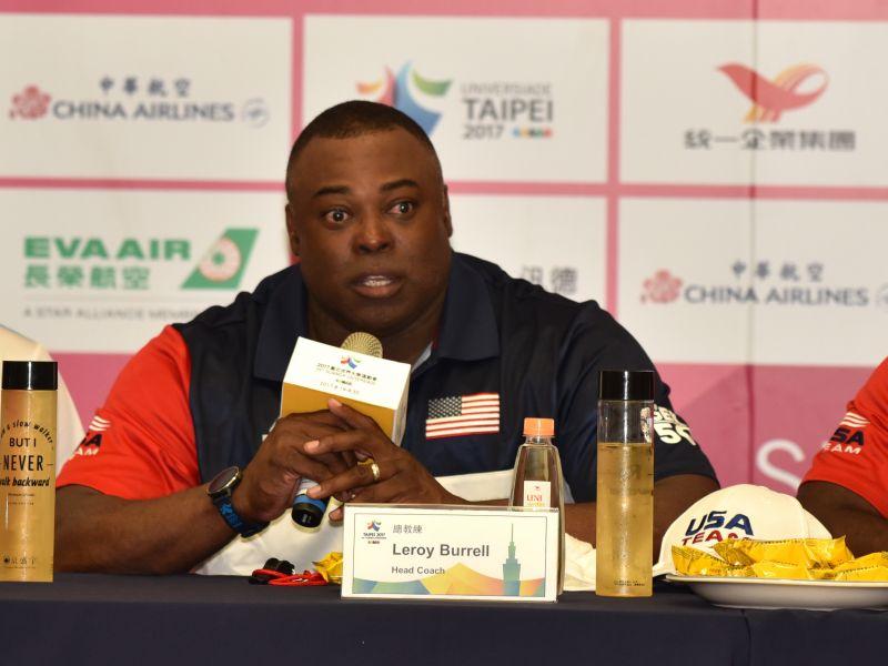 短跑名將布瑞爾(Leroy Burrell)這次帶隊參加臺北世大運。圖/2017世大運組委會提供