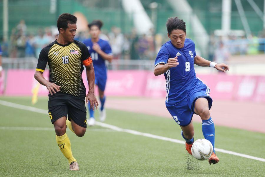 世大運男足,中華隊李祥偉攻下本場比賽第一球。台北世大運組委會提供