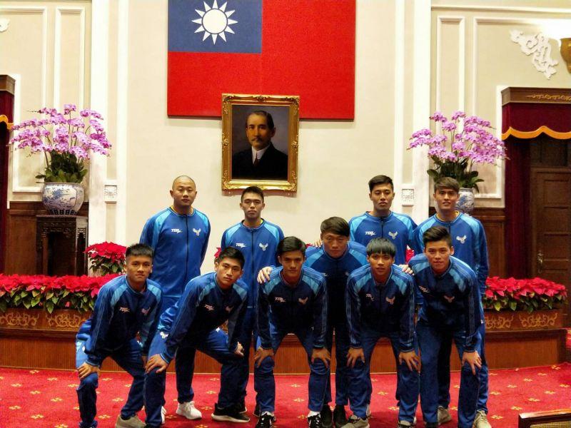 中華男足受總統府邀請。中華民國足球協會提供