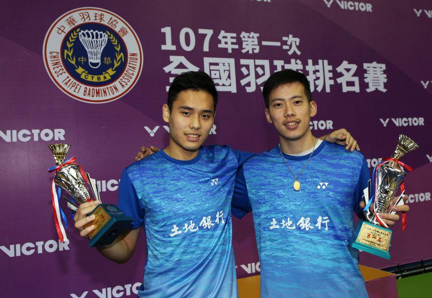 搭檔9年的土銀男雙楊明哲(右)柏禮維首獲排名賽冠軍/李天助攝