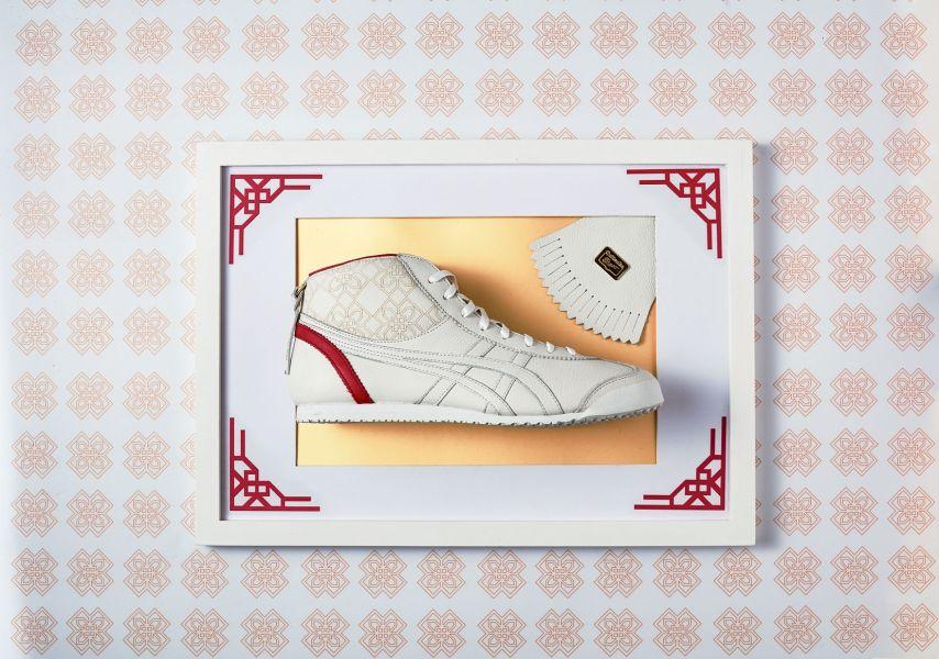 鞋側的印花圖案抽象化了新年的鏤空窗花,寓意吉祥如意。(Onitsuka Tiger提供)
