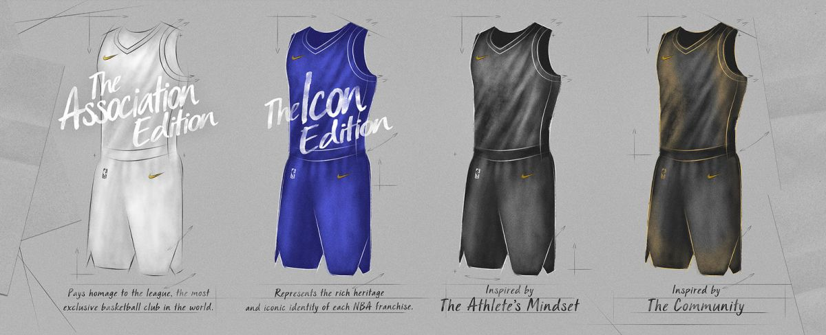 "Nike和NBA為每支球隊都打造了四套主要球衣,分成各種""版本""。"
