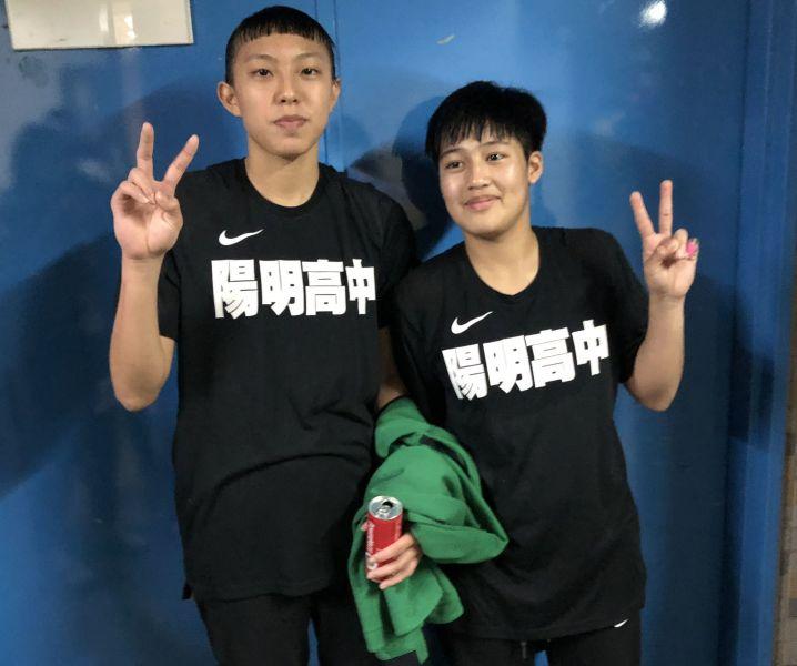 「陽明喬丹」江子柔(右)、「陽明皮彭」張聿嵐(左)。大會提供