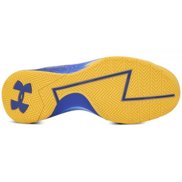 "「Curry One DUB-NATION」經典配色,藉由金州勇士隊的主場""藍""與""黃"",來詮釋球隊為Stephen Curry最為堅實的後盾。官方提供"