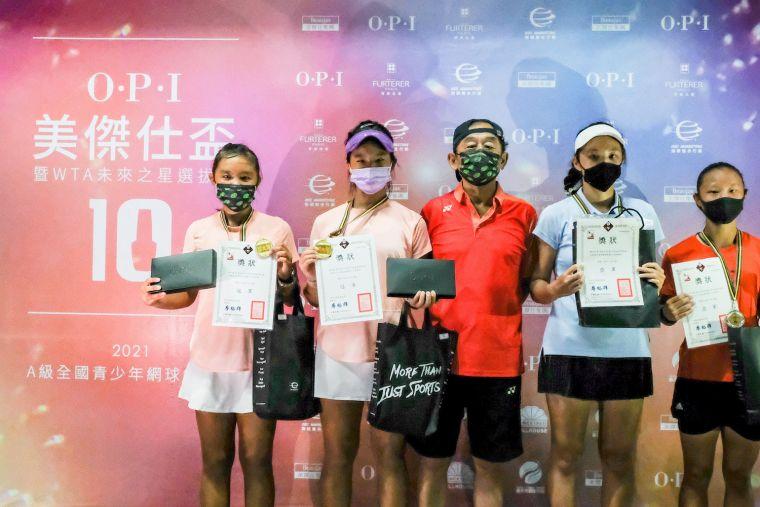 14歲女雙冠軍蔡宇甯/黃珉臻(左)、亞軍黃奕晴/潘巧淳(右)。海碩整合行銷提供
