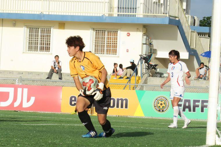中華隊門將蔡明容 今日演出不少精彩撲救。中華民國足球協會提供