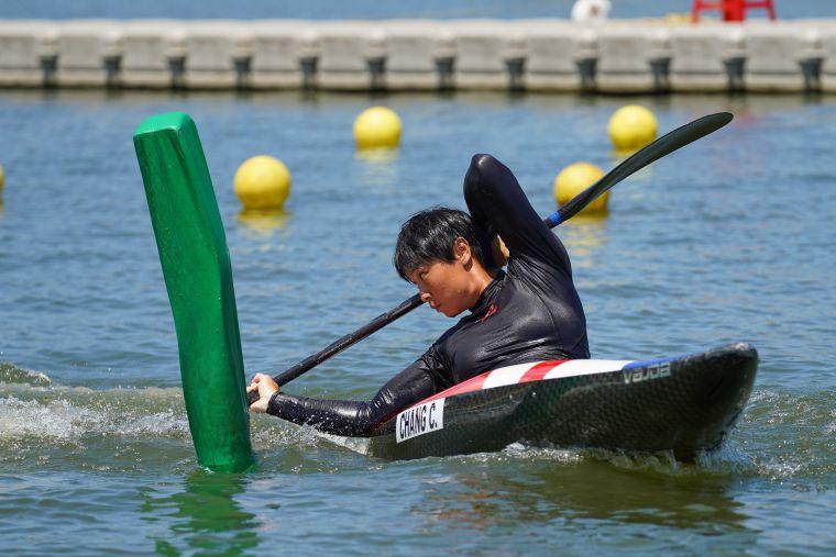 張筑涵於110年全國運動會摘下靜水障礙愛斯基摩艇金牌。台中市運動局提供