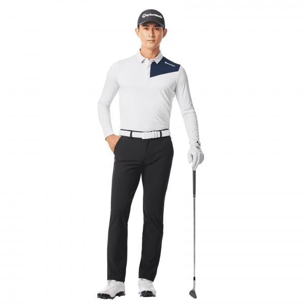 彈性伸縮和吸汗快乾功能的長袖Polo衫(白)。官方提供