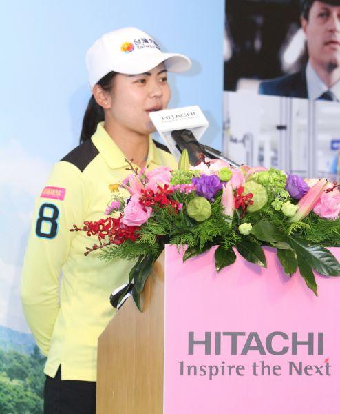 徐薇淩日立記者會代表選手致詞。鍾豐榮攝影
