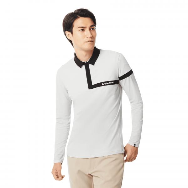 抗UV性能、微刷毛長袖Polo衫(白)。官方提供