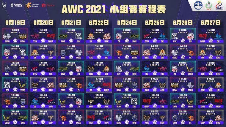 AWC 2021 小組賽於 6 月 19 日至 27 日進行。官方提供