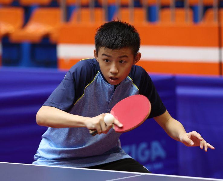 15歲的林晉頡,曾獲選青少年國手,目前是松山高商1年級的學生,是這次全運會桌球最年輕的小將。李天助攝