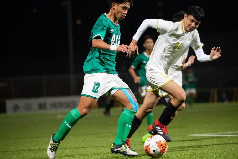 清水高中林駿凱在對戰香港九龍城聖公會時個人獨進兩球。