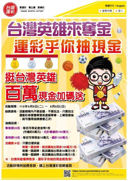 台灣運彩「台灣英雄來奪金  運彩乎你抽現金」活動海報。官方提供