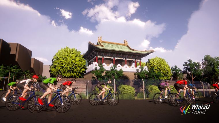 自由車電競爭罷賽臺北站的模擬畫面。體育署提供