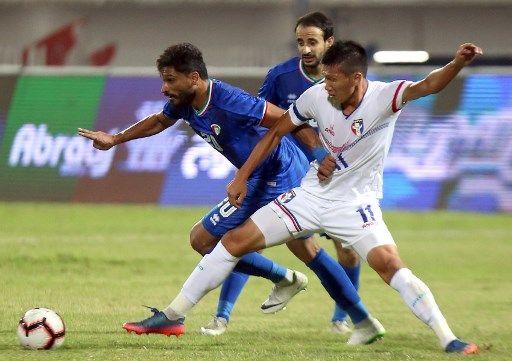 科威特的納塞爾獨進兩球。法新社