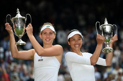 謝淑薇成為溫網史上第八位女雙三冠后。法新社