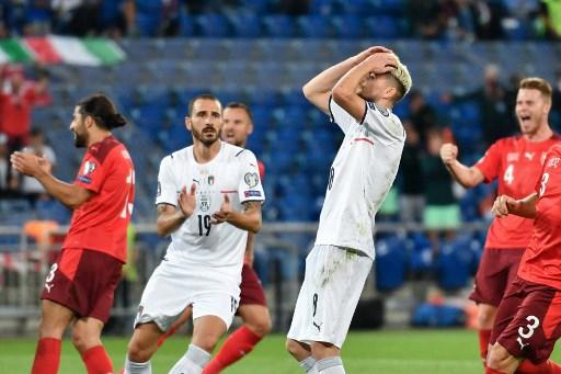 義大利若日尼歐射失12碼球。法新社