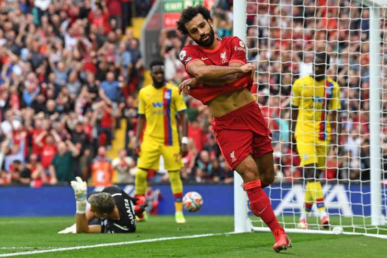 薩拉(前)本場比賽製造3進球,助利物浦擊敗水晶宮。(法新社)