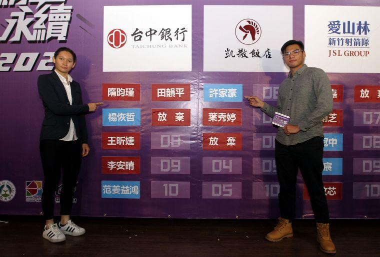 中華企業射箭聯賽3年選秀狀元后隋昀瑾和許家豪。中華企業射箭聯盟/提供。