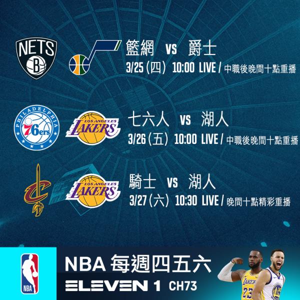 NBA單週賽事預報。官方提供