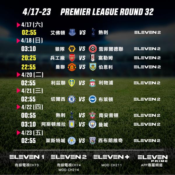 0417-23 英超單輪賽程預告(中文版)。官方提供