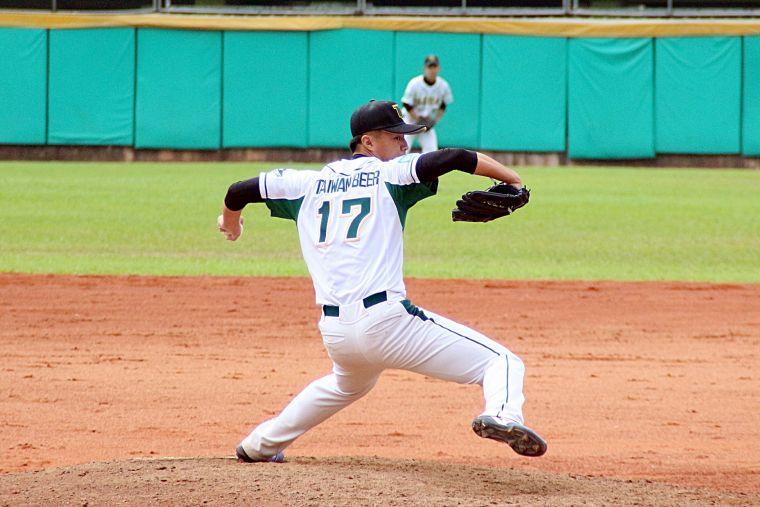 108大專棒球聯賽,國體藍愷青中繼5局無失分助隊奪勝。大會提供