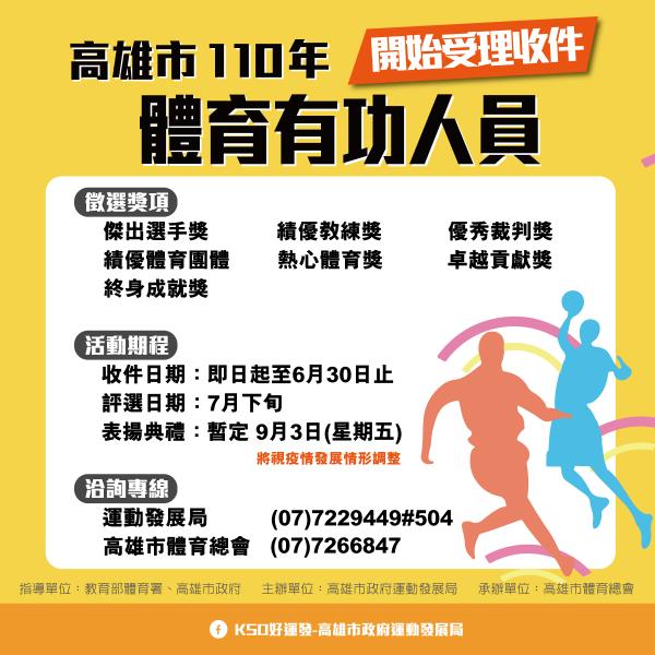 高雄市體育有功人員表揚收件至6月30日。官方提供