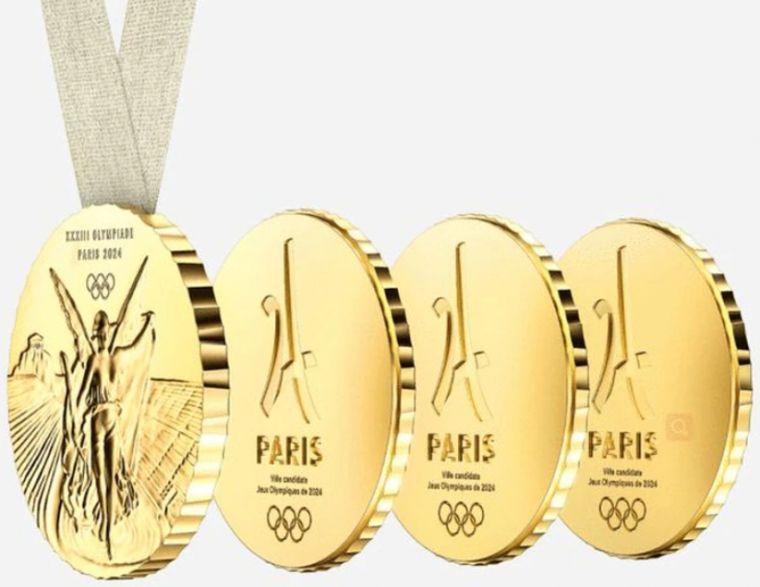 巴黎奧運獎牌可拆開。取自網路