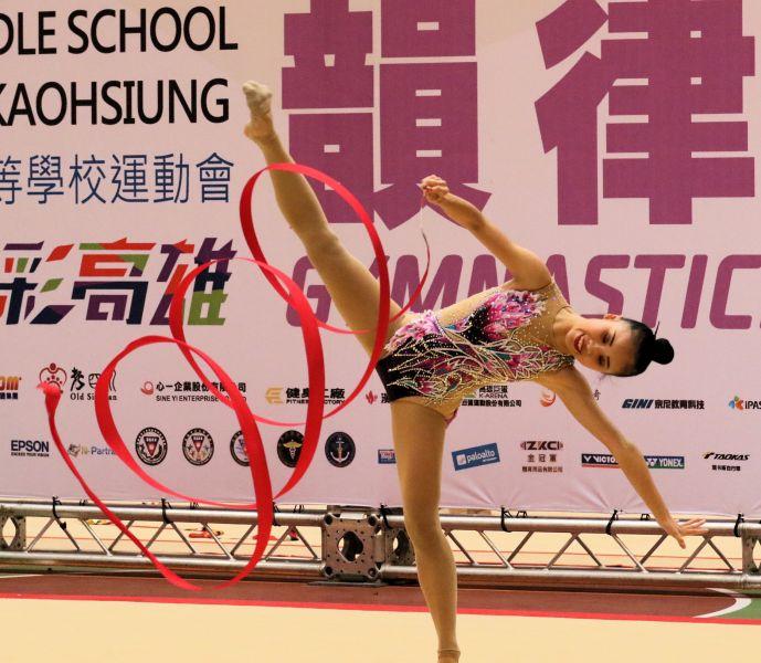 108全中運韻律體操首日在高雄市中正高中展開成隊競賽。大會提供